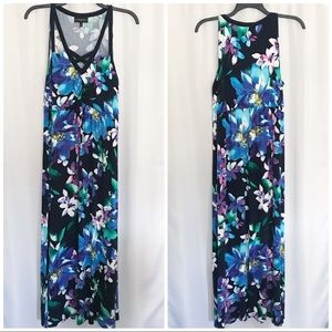 Lane Bryant Dark Floral Knit Maxi Dress EUC
